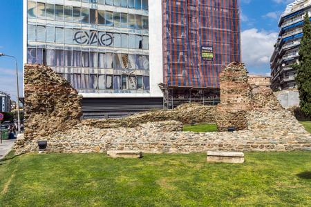 THESSALONIKI, GREECE - SEPTEMBER 30, 2017: Ruins of Telli Kapı in the center of city of Thessaloniki, Central Macedonia, Greece