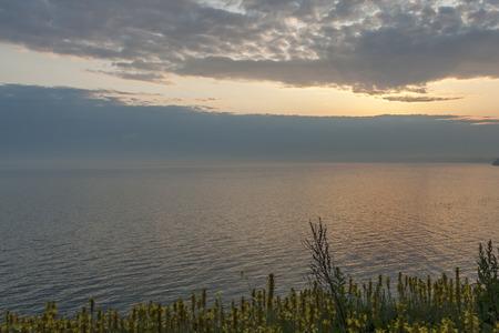 Amazing Sunset landscape from Kaliakra Cape at Black Sea Coast,  Dobrich Region, Bulgaria 免版税图像