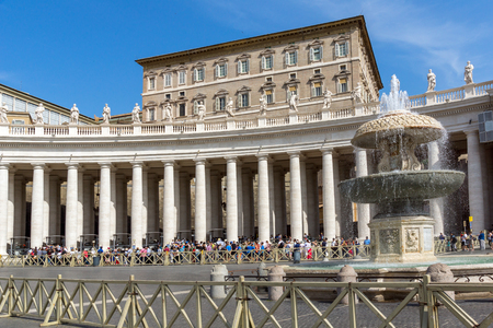 VATICAN CITY - JUNE 23, 2017:  St. Peters Basilica at Saint Peters Square in city of Rome, Vatican, Italy Editorial
