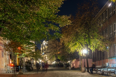 BELGRADE, SERBIA - NOVEMBER 10, 2018: Night photo of Skadarlija district in Old town in the center of city of Belgrade, Serbia Redakční
