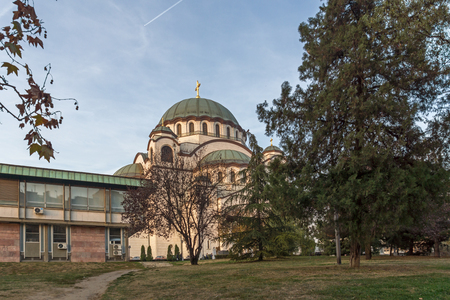 BELGRADE, SERBIA - NOVEMBER 10, 2018: Cathedral Church of Saint Sava in the center of city of Belgrade, Serbia