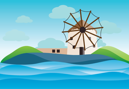 Typical Geece landscape with winmills at Myconos island- vector illustration Illustration