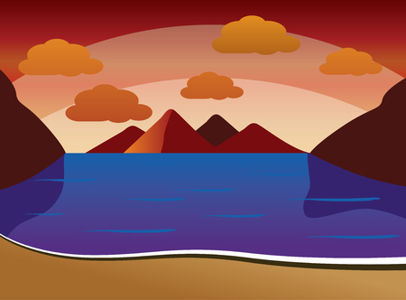 Summer Sunset background of beach with waves, clouds - vector illustration