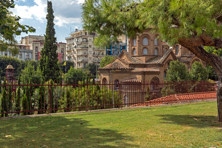 THESSALONIKI, GREECE - SEPTEMBER 30, 2017: Аntique Byzantine Church of Panagia Chalkeon in the center of city of Thessaloniki, Central Macedonia, Greece