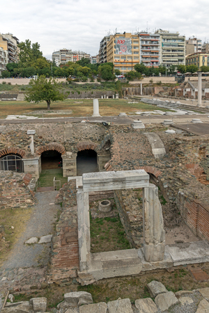THESSALONIKI, GREECE - SEPTEMBER 30, 2017: Panorama of Ruins of Roman Forum in the center of city of Thessaloniki, Central Macedonia, Greece