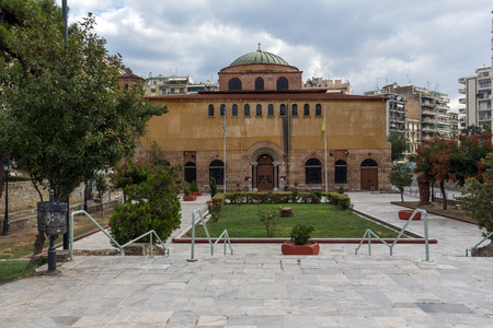 THESSALONIKI, GREECE - SEPTEMBER 30, 2017: Аntique Byzantine Orthodox Hagia Sophia Cathedral in the center of city of Thessaloniki, Central Macedonia, Greece