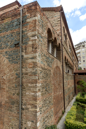 THESSALONIKI, GREECE - SEPTEMBER 30, 2017: Аntique Byzantine Church of the Acheiropoietos in the center of city of Thessaloniki, Central Macedonia, Greece
