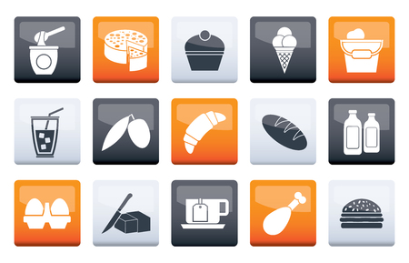 Dairy Products - Food and Drink icons over color background - vector icon set