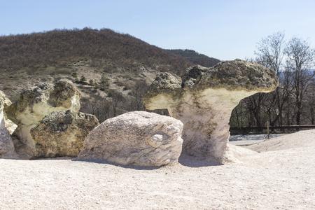 Amazing Landscape with Rock formation The Stone Mushrooms near Beli plast village, Kardzhali Region, Bulgaria Standard-Bild