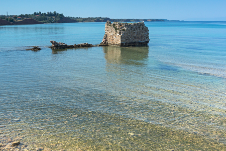 Ancient ruins at coastline of town of Nea Poteidaia, Kassandra, Chalkidiki, Central Macedonia, Greece