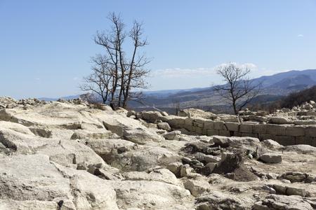 Ruins of Ancient sanctuary city Perperikon, Kardzhali Region, Bulgaria Stock Photo