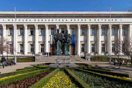 SOFIA, BULGARIA - MARCH 27, 2019: Spring view of National Library St. Cyril and Methodius in Sofia, Bulgaria 報道画像