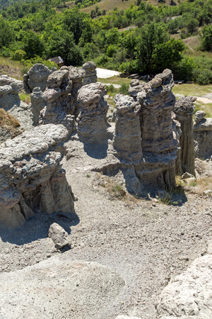 Rock formation The Stone Dolls of Kuklica near town of Kratovo, Republic of North Macedonia Stock Photo