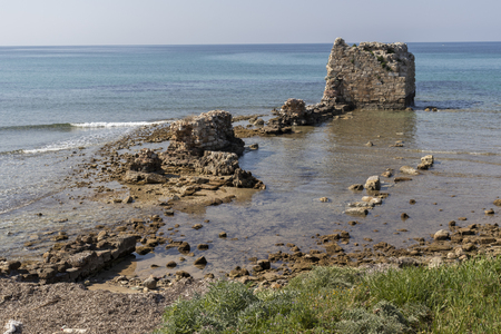 Ruins of ancient fortification at the sea in town of Nea Poteidaia, Kassandra, Chalkidiki, Central Macedonia, Greece