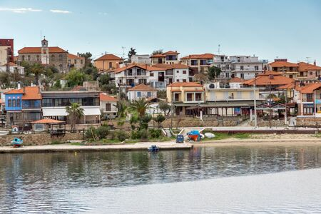 AMMOULIANI, GREECE - APRIL 3, 2015: Panorama to Ammouliani island, Athos, Chalkidiki, Central Macedonia, Greece Редакционное