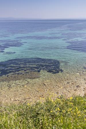Amazing seascape of coastline of town of Nea Fokea, Kassandra, Chalkidiki, Central Macedonia, Greece Imagens