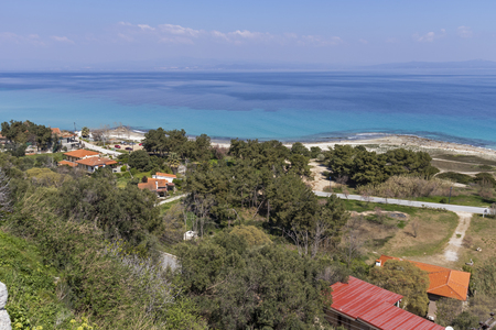 Panoramic view of beach of town of Afytos, Kassandra, Chalkidiki, Central Macedonia, Greece
