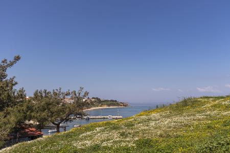 Panoramic view of town of Nea Fokea, Kassandra, Chalkidiki, Central Macedonia, Greece