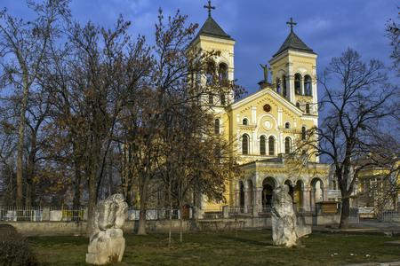 RAKOVSKI, BULGARIA - DECEMBER 25, 2013: Sunset view of The Roman Catholic church Most holy Heart of Jesus in town of Rakovski, Bulgaria 写真素材