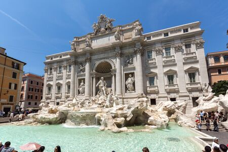 ROME, ITALY - JUNE 23, 2017: Amazing view of Trevi Fountain (Fontana di Trevi) in city of Rome, Italy