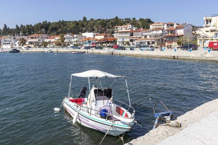 NEA SKIONI, KASSANDRA,  GREECE - MARCH 31, 2019: Panorama of resort of Nea Skioni, Kassandra, Chalkidiki, Central Macedonia, Greece Editorial
