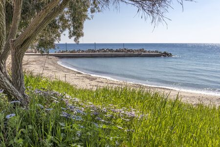 LOUTRA, KASSANDRA,  GREECE - MARCH 31, 2019: Panorama of resort of Loutra, Kassandra, Chalkidiki, Central Macedonia, Greece Editorial