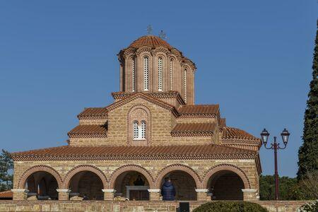 SOUROTI, GREECE - MARCH 31, 2019: Outside view of Monastery Souroti of St. John the Theologian, St. Paisios Athonite and St. Arsenios the Cappadocian, near Thessaloniki, Greece