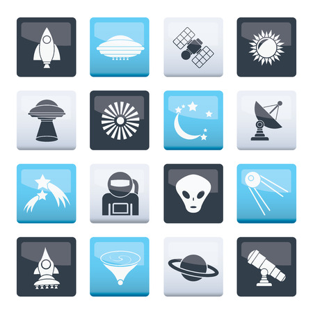 Astronautics, space and universe icons over color background - vector icon set