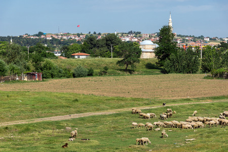 Panorama of land near city of Edirne,  East Thrace, Turkey