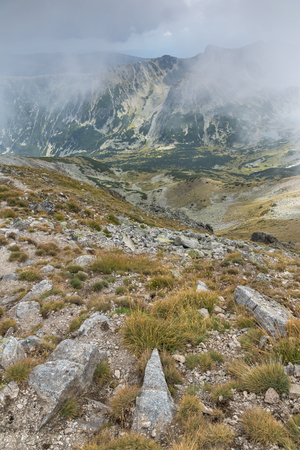 Amazing Panoramic view of hills covered with fog from Musala peak, Rila mountain, Bulgaria