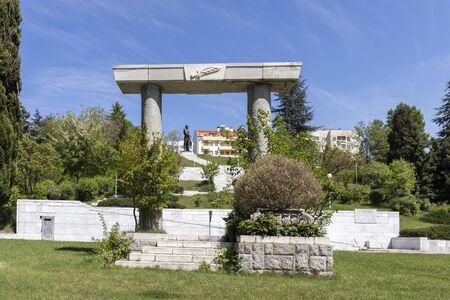 SANDANSKI, BULGARIA - APRIL 29, 2019: Monument of Thracian gladiator Spartacus in town of Sandanski, Bulgaria