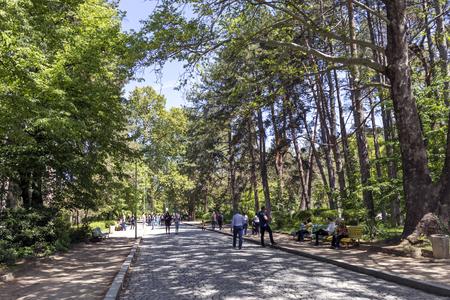 SANDANSKI, BULGARIA - APRIL 29, 2019: Spring view of Park St. Vrach in town of Sandanski, Bulgaria Фото со стока - 122737943