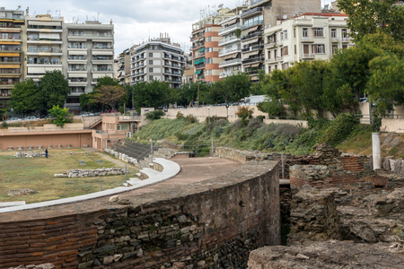 THESSALONIKI, GREECE - SEPTEMBER 30, 2017: Pnoramic view of Ruins of Roman Forum in the center of city of Thessaloniki, Central Macedonia, Greece Editöryel