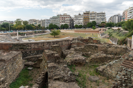 THESSALONIKI, GREECE - SEPTEMBER 30, 2017: Pnoramic view of Ruins of Roman Forum in the center of city of Thessaloniki, Central Macedonia, Greece Editorial