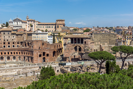 ROME, ITALY - JUNE 23, 2017:  Amazing panorama of City of Rome from the roof of  Altar of the Fatherland, Italy Redakční