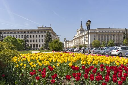 SOFIA, BULGARIA - APRIL 24, 2019: Panoramic view of Knyaz Alexander I Square in city of Sofia, Bulgaria