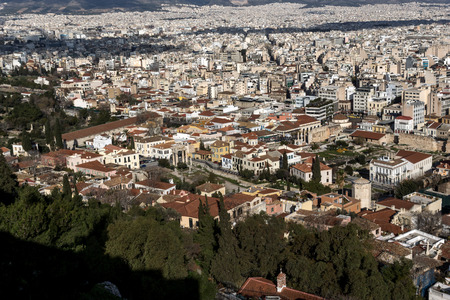 Panoramic view of city of Athens from Acropolis, Attica, Greece 版權商用圖片