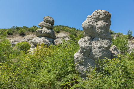 Landscape with Rock formation The Stone Dolls of Kuklica near town of Kratovo, Republic of North Macedonia Stock fotó