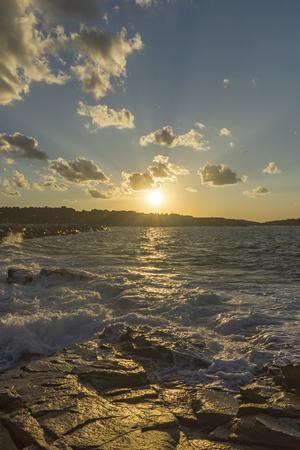 Sunset Seascape of the rocks at the coastline of Chernomorets, Burgas region, Bulgaria