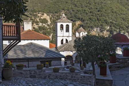 Ancient Orthodox Monastery of Timiou Prodromou St. John the Baptist near town of Serres, Central Macedonia, Greece Stok Fotoğraf