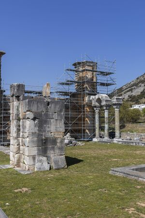 Basilica in the archeological area of ancient Philippi, Eastern Macedonia and Thrace, Greece 写真素材 - 129436639