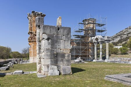Basilica in the archeological area of ancient Philippi, Eastern Macedonia and Thrace, Greece 写真素材 - 129436643