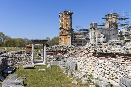 Basilica in the archeological area of ancient Philippi, Eastern Macedonia and Thrace, Greece 写真素材 - 129436647