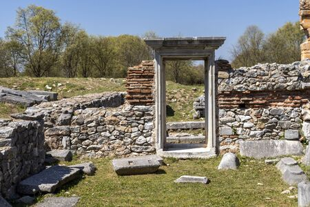 Basilica in the archeological area of ancient Philippi, Eastern Macedonia and Thrace, Greece 写真素材 - 129436649