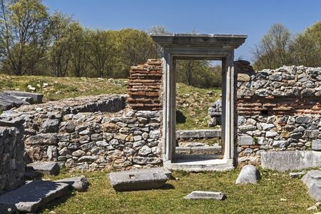Basilica in the archeological area of ancient Philippi, Eastern Macedonia and Thrace, Greece 写真素材 - 129436650