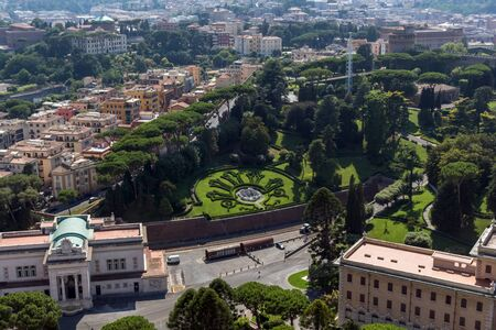 Panorama of Vatican city and Rome from dome of St. Peter's Basilica, Italy