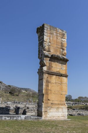 Ruins of Basilica in the archeological area of ancient Philippi, Eastern Macedonia and Thrace, Greece 스톡 콘텐츠 - 132924985