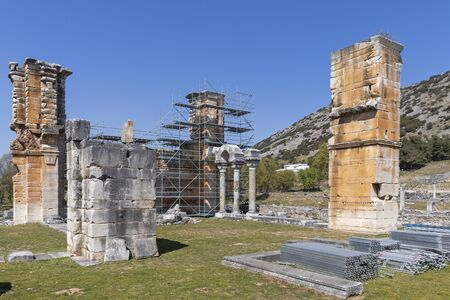 Ruins of Basilica in the archeological area of ancient Philippi, Eastern Macedonia and Thrace, Greece 스톡 콘텐츠 - 132925030