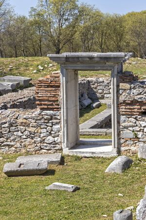 Ruins of Basilica in the archeological area of ancient Philippi, Eastern Macedonia and Thrace, Greece