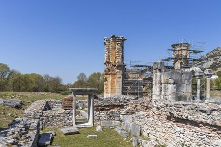 Ruins of Basilica in the archeological area of ancient Philippi, Eastern Macedonia and Thrace, Greece 스톡 콘텐츠 - 132925077